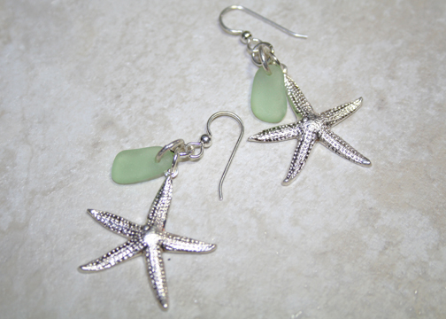 Sea Foam Sea Glass Sterling Earrings
