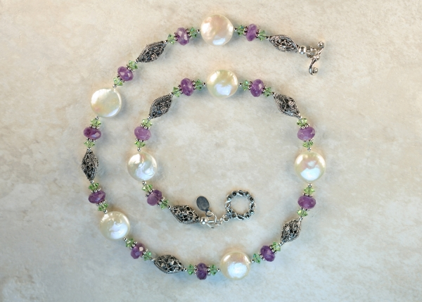 Amethyst and Coin Pearl Necklace