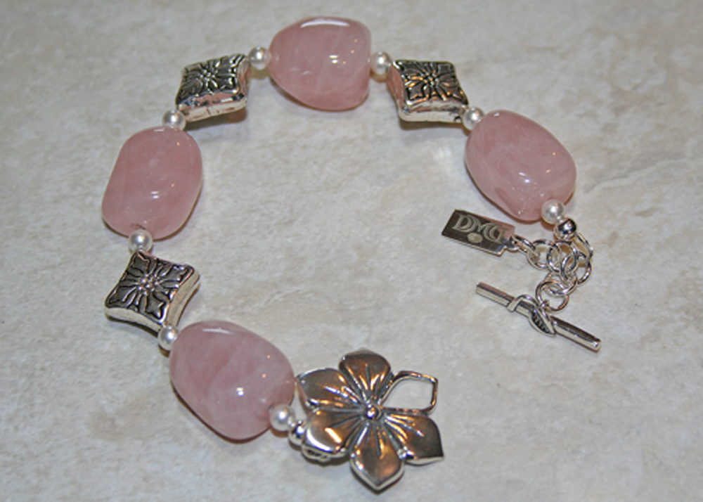 Rose Quartz Sterling Floral Bracelet
