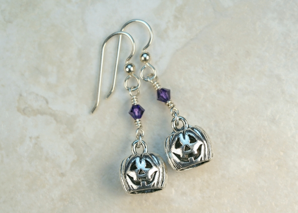 Halloween Swarovski Sterling Pumpkin Earrings
