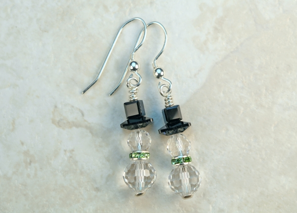Swarovski Crystal Sterling Snowmen Earrings