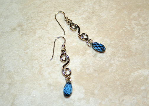 Handmade Swarovski Sterling Drop Earrings