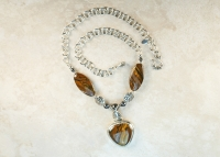 Tiger Iron and Pearl Handmade Necklace