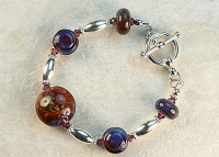 Purple and Crimson Borosilicate Lampwork Bracelet