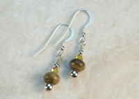 Copper Green Opal Jasper Sterling Silver Earrings