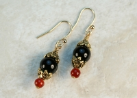 14K Gold Black Onyx and Carnelian Earrings