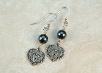Blue Pearl Swarovski Heart Earrings