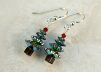 Christmas Swarovski Vitrail Green Tree Earrings