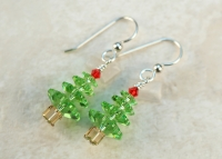 Christmas Swarovski Crystal Green Tree Earrings