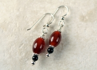 Carnelian Barrel Handmade Sterling Silver Earrings