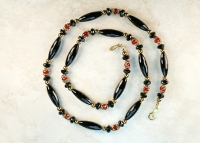 14K Gold Black Onyx and Carnelian Necklace