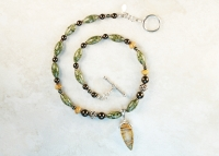 Picture Jasper Pendant Sterling Silver Necklace