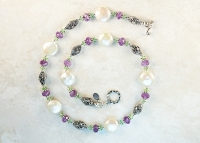 Coin Pearls and Amethyst Necklace