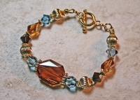 14K Gold Swarovski Copper Gold Bracelet