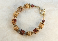 Picture and Poppy Jasper 14K Gold Bracelet