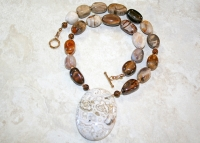 Variegated Wood Agate Pendant Necklace