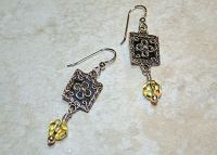 Swarovski Citrine Floral Sterling Earrings
