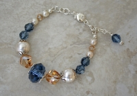 Sterling Swarovski Montana Blue Crystal and Pearl Bracelet
