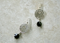 Sterling Silver Floral Onyx  Earrings