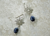Blue Dumortierite Sterling Silver Earrings