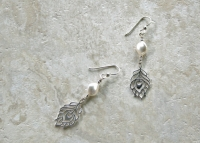Sterling Silver Feather Pearl Earrings