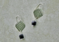 Sterling Patterned Black Onyx Earrings