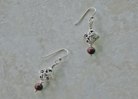 Bali Sterling Filigree Jasper Earrings
