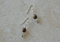 Sterling Bronzite Moss Agate Earrings