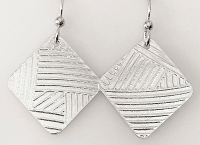 Sterling Abstract Square Earrings