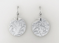 Sterling Leaf Round Earrings